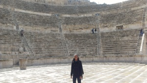Standing inside the Ancient Roman Theater.